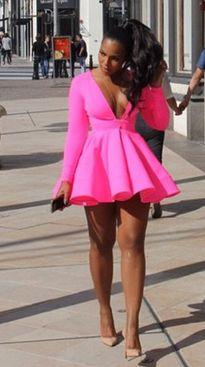 Ashanti Michael Costello Hot Pink Dress