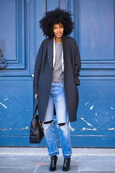 Afro check, coat check, and ripped jeans check!!!