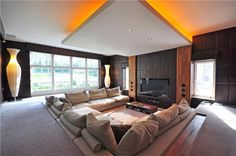 6 bedroom detached house for sale in Weybridge - Rightmove. Home Cinema Room, Home Theater Rooms, Home Theater Design, Dream Home Design, House Design, Living Room Designs, Living Room Decor, Sunken Living Room, H & M Home