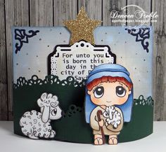 Inspired Stamps Shepherd Boy, Laying Sheep, Christmas, Scripture, Copics.