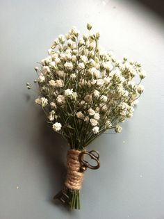 Babys breath boutonniere - skeleton key - key to my heart - groomsmen - wedding - rustic wedding - woodland wedding on Etsy, $4.99
