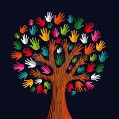 Colorful diversità albero mani Illustration.Illustration livelli di facile manipolazione e la colorazione personalizzata.