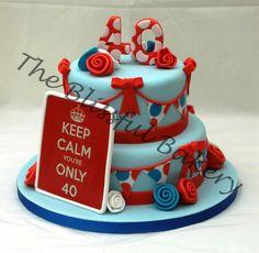 Birthday cake. Red White Blue cake.(Design from The Strawberry Lane Cake Company)