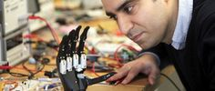 """Dr. Kianoush Nazarpour, a senior lecturer in biomedical engineering at Newcastle University is busy developing an """"Intuitive"""" hand that can sense the shape of the object that needs to be picked up, and adjusts its grip accordingly. The hand has a camera attached to it that provides the """"vision"""" – the ability to detect the shape of the object it is about to pick up. #assistivetechnology #amputee #bionic #bionicarm #bionichand #doubleamputee #prostheticarm"""