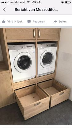 If these drawers have both slide hardware and wheels they are a nice change from. If these drawers Laundry Closet, Laundry Room Storage, Laundry Room Design, Laundry In Bathroom, Kitchen Storage, Interior Design Living Room, Living Room Designs, Regal Bad, Clothes Dryer
