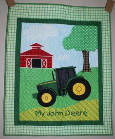 Rare My John Deere Tractor crib/toddler/lap quilt by carsondesign, $85.00