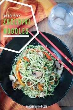These vegan noodles are super quick, easy, and low carb meal perfect for any day of the week. Vegan and gluten free. Vegan Dinner Recipes, Vegan Dinners, Lunches And Dinners, Whole Food Recipes, Weeknight Dinners, Family Recipes, Stir Fry Zucchini Noodles, Zucchini Fries, Veggie Noodles