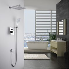 KiarRog Bathroom shower set. Concealed shower faucet. 250 MM (10 inch) rainfall shower head. All the accessories. http://ali.pub/4rbp9