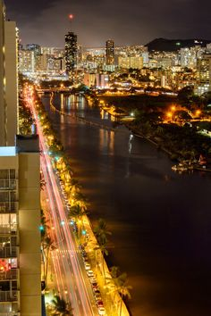 View From Above by Marshall Humble, Honolulu Night shot looking down the Ala Wai canal Waikiki Hawaii Life, Aloha Hawaii, Honolulu Hawaii, Hawaii Travel, Places Around The World, Around The Worlds, City Skyline Night, Honolulu City, Places To Travel