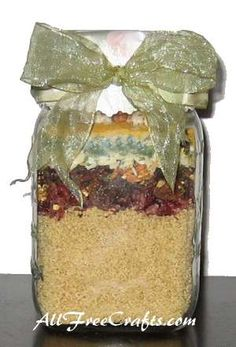 Layer the ingredients for Cranberry Nut Couscous in a jar, add the printable label and a bow, and you have a nice savory food gift for friends.