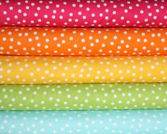 Remix Rainbow Polka Dots quilt or craft fabric bundle by Ann Kelle for Robert Kaufman- Fat Quarter Bundle, 5 total