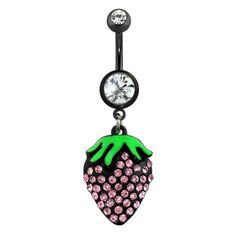 Gem-Paved-Epoxy-Double-Gem-Starwberry-Black-IP-316L-Surgical-Steel-Navel-Ring