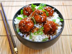 teriyaki meatball bowls Sub out  bread crumbs for gf oatmeal (ground) and gf soy sauce