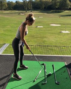 For me this is the easiest way to hit a fade/draw: Set a club left (for a fade) or right (for a draw) of your target line Set your… Girls Golf, Ladies Golf, Golf Now, Trendy Golf, Sexy Golf, Golf Videos, Golf Instruction, Golf Tips For Beginners, Golf Training