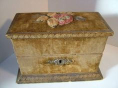Victorian Velvet Gilt Leather Toilet Scent Box Antique | eBay