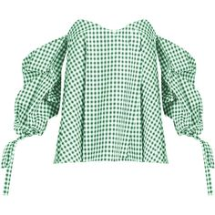 Caroline Constas Gabriella off-the-shoulder gingham top (1.825 RON) ❤ liked on Polyvore featuring tops, blouses, plaid, drape top, plaid top, plaid blouse, gingham blouse and off the shoulder blouse