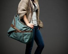 Expandable Jade Canvas Duffle Bag Womens by VortexLimited on Etsy, $59.99