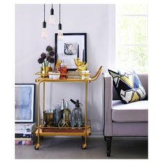 Threshold™ Metal/Wood/Leather Bar Cart - Gold