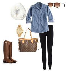 """""""A Preppy Day"""" by elizabeth-southern-prep ❤ liked on Polyvore featuring James Perse, Concord, Valentino, Louis Vuitton, Michael Kors and Ray-Ban"""