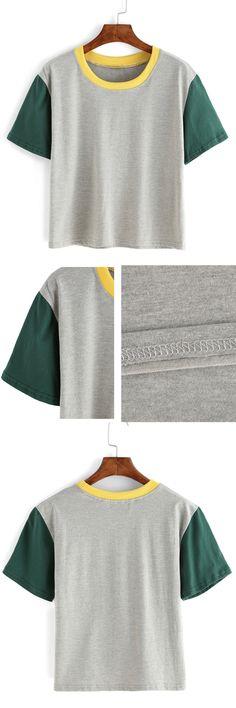 Contrast Crew Neck Grey T-shirt