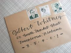 contemporary calligraphy, hand lettering, envelope addressing
