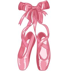 Royalty-Free (RF) Clipart Illustration of a Shiny Pink Satin Ballet Slippers With A Matching Bow by Pushkin Ballet Shoes Drawing, Ballet Drawings, Ballet Art, Ballet Girls, Ballet Dancers, Ballerina Birthday Parties, Ballerina Party, Baby Ballerina, Angelina Ballerina