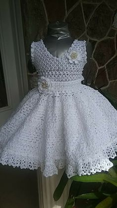 Discover thousands of images about Baby Andrea crochet pattern christening gown, thread crochet christening gown, blessing gown pattern, baptism crochet pattern, christeningThis Pin was discovered by chr Crochet Tutu Dress, Crochet Baby Dress Pattern, Gown Pattern, Crochet Baby Clothes, Diy Dress, Dress Patterns, Crochet Patterns, Little Miss Dress, Crochet Girls