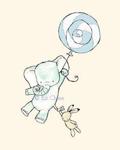 elephant and bunny - balloon