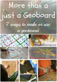 DIY make & give OR make up a gift bag with the Items as a project for kids to make and play _ rubber bands,little hammer,board,nails,pegboard screws,nuts > More than just a geoboard -7 ways to make or play