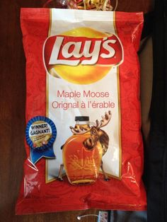 What exactly does maple moose taste like? It sounds like it should be ice cream, not potato chips. I Am Canadian, Canadian Food, Canadian History, Canada For Kids, Canada 150, Snack Recipes, Snacks, Potato Chips, Alberta Canada