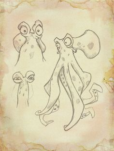 B/W cartoon octopus sketch