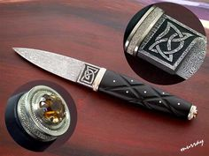 Brian Lyttle Custom Knifemaker: Damascus Sgian Dubh with Celtic knotwork