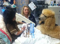 Patient Noah is reading with Peaches courtesy of the Reading is the Way Up Program at Mattel Children Hospital UCLA.