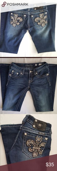 """Miss Me Jeans size 25 Miss Me boot cut jeans size 25 Inseam professionally hemmed to 28"""", Rise 6"""" Small rips on bottom legs (see 2nd picture) otherwise in EUC! Miss Me Jeans Boot Cut"""
