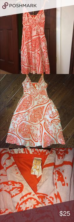 Anthropologie Maeve Empire-Waist Sundress Worn only three times! Side zip with top button to secure. Hidden pockets. Hits knee length. Fully lined. Surplus Bust to empire-waist which is is stretchy and smocked. 100% Cotton. Made in India. Orange and white pattern. The only flaw I can find is that one armpit has an area where it looks like the orange dye left a faint stain. See last picture for that. Anthropologie Dresses