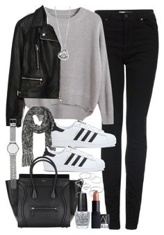 Adidas Shoes OFF! Outfit with a tote bag by ferned featuring mid-finger rings Chicnova Fashion round neck sweater 59 AUD / Zara biker jacket 140 AUD / Topshop skinny jeans 82 AUD / Adidas black and white shoes Mode Outfits, Jean Outfits, Winter Outfits, Fashion Outfits, Womens Fashion, Jeans Fashion, Zara Fashion, Fashion Ideas, Kids Fashion