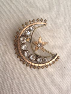 Victorian crescent moon paste brooch by thejunkdiva on Etsy, $58.00