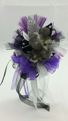 Black Dendrobium Orchid Corsage with Silver, Black and Royal Purple Accent