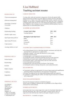 Teacher Assistant Resume Teaching Assistant Cover Letter Example  Sample Cover Letter For