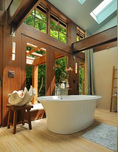 Wooden Bathroom Designs in bathroom design interior design decorating before and after design ideas interior Wood Floor Bathroom, Wooden Bathroom, Bathroom Wall Decor, Bathroom Interior Design, Bathroom Designs, Bathroom Ideas, Skylight Bathroom, Eco Bathroom, Bathtub Designs