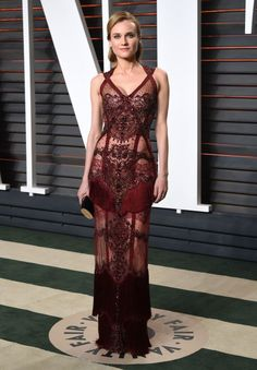 2016 Vanity Fair Oscars party: what they're wearing: Diane Kruger in Reem Acra