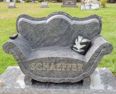 Full size sofa grave marker with TV remote and pillow, St. Patrick's Cemetery, Thompson, Ohio.