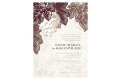 This stationery collection features supple grapes hanging off lush vines on a beautiful rustic background.