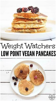 Weight Watchers Low-Point Vegan Pancakes One of the nice things about doing Weight Watchers is that there are so many ways to eat your favourite foods. Vegan Pancake Recipes, Vegan Pancakes, Ww Recipes, Brunch Recipes, Breakfast Recipes, Snack Recipes, Dessert Recipes, Vegetarian Recipes, Vegan Breakfast