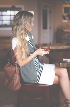 striped dress + sleeveless cardigan