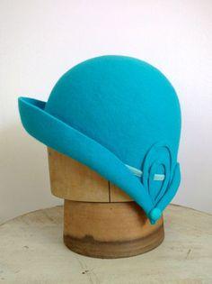 Turquoise Wool Felt Cloche Art Deco Hat by FrontierMillinery