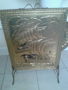 Vintage Embossed Nautical Br Fire Guard Screen Emboss Screens