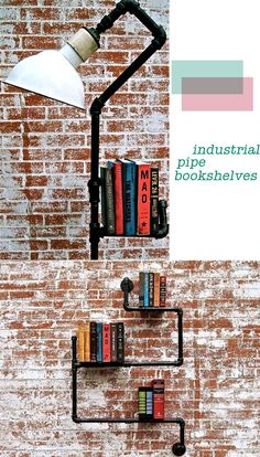I saw a bookshelf like this on HGTV - I really want to do this in my basement, more of a traditional bookcase, though. love the urban/industrial look.