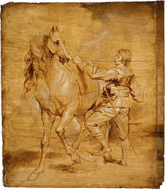 Attributed to Anthony van Dyck (Flemish, 1599–1641). A Man Mounting a Horse, ca. 1630.