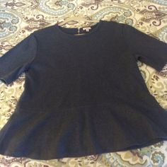 Gap top - heather navy peplum top. NWT New with tags - navy blue heathered peplum top from Gap. Zipper on back. Flatters your curves! GAP Tops Tees - Short Sleeve